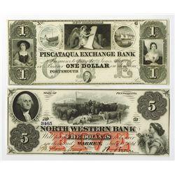 North Eastern Obsolete Banknote Pair.
