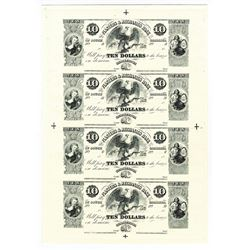 Planters & Mechanics Bank Uncut Sheet of 4 Proprietary Proofs.