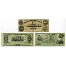 South Carolina Obsolete Banknote Trio.