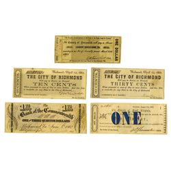 United States Obsolete Currency, 1862, Quintet of Notes