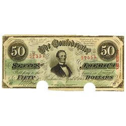 C.S.A., $50, T-57, Cr-406 to 417, 1863 Confederate Note.
