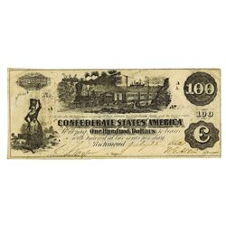 C.S.A., 1862, $100, T-39, Cr-290-296 Issued Banknote.