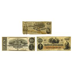 C.S.A., 1862, Trio of Issued Notes