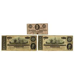 C.S.A., 1864 Banknote Trio.