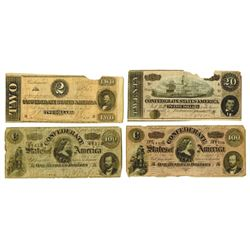C.S.A., 1864, Quartet of Issued Notes