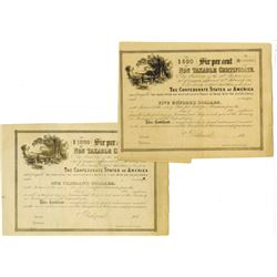 C.S.A., ca. 1864, Pair of Non Taxable Certificates