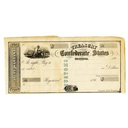 C.S.A., Treasury of the Confederate States, 186x, Unissued Treasury Warrant.