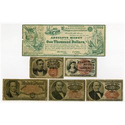 U.S. Fractional Currency Quintet and Absolute Money Satirical Note.
