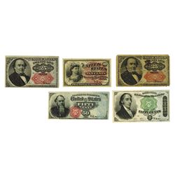 United States Fractional Currency, 1862-1874, Quintet of Notes