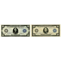 F.R.N., Series 1914, $10, Fr#906 and $20 Series 1914, Fr#979 Issue Banknote Pair.