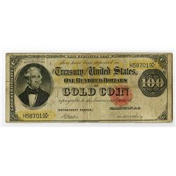 U.S. Gold Certificate, $100, Series of 1882, Small Red Seal, Fr#1210 Issued Banknote.