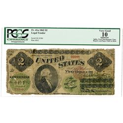 U.S. Legal Tender, $2, Series 1862, Fr#41a, Issued Banknote.