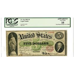 U.S. Legal Tender, $5, 1862, Fr.61a Issue Banknote.