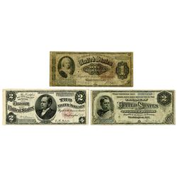 U.S. Silver Certificate Large Type Trio, Series 1886 and 1891 Issues.