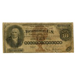 "U.S. Silver Certificate, $10, Series of 1880, Large Brown Seal, ""Black Back"", Fr#287 Issued Banknote"