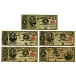 U.S. Treasury Note Assortment, $1, Series of 1890 (1) and 1891 (3) and $2 Series of 1890.