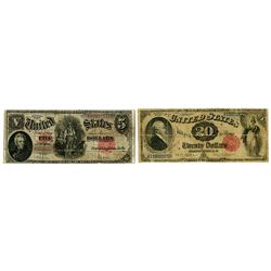 U.S. Legal Tender Banknote Pair, $20, Series of 1880, Fr#142 and 1907, $5, Fr#91.