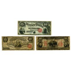 Trifecta of $10 Type Notes, ca.1880-1901 Issued Banknotes.