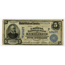 Capital National Bank of Sacramento, California, $5, 1902 Plain Back, Ch#10107.