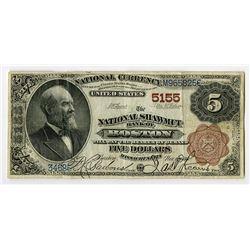 National Shawmut Bank of Boston, Massachusetts, $5, 1882, 2nd Charter Brown Back, Ch#5155.