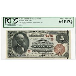 National Bank of Commerce in St.Louis, Missouri, $5, 1882, 2nd Charter Brown Back, Ch#4178.
