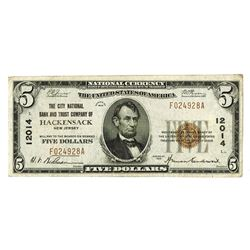 City National Bank and Trust Company of Hackensack, NJ, 1929, $5,T1, Charter 12014, National Banknot