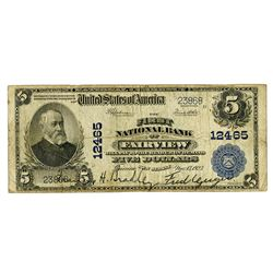 National Currency $5 Ch. 12465. First National Bank of Fairview