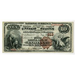First National Bank of Indiana, Pennsylvania, $10, 1882, 2nd Charter Brown Back, Ch#313.