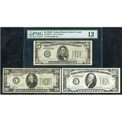 Federal Reserve Note, Series 1934, Trio of Star Replacement Notes
