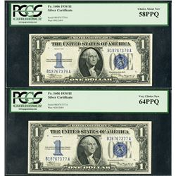 Silver Certificate, Series 1934, Issued Note Pair