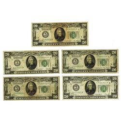 Federal Reserve Note, 1928, Lot of 5 Notes
