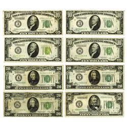 Federal Reserve Note, 1928, Lot of 8 Notes