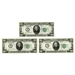 Federal Reserve Note, 1928, Sequential Trio