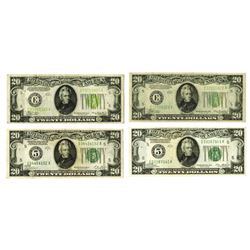 Federal Reserve Note, 1928-1934, Lot of 4 Notes