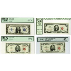 Silver Certificate & Legal Tender Note, 1934-1963, Quartet of Issued Notes