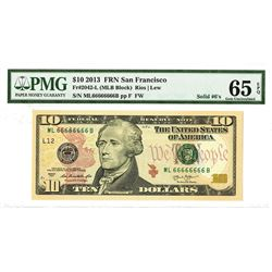 """F.R.N., $10, San Francisco, Solid """"66666666""""'S Serial Numbers."""