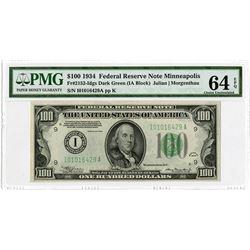 F.R.N., $100 1934, Minneapolis, Fr#2152-Idgs Dark Green, (IA Block) Issue Banknote.