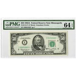 F.R.N., $50 1963A, Minneapolis Star Note Fr#2113-I* (I* Block) Issue Banknote.