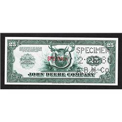 John Deere Co. $25, 1980 Specimen Scrip or Coupon Certificate.