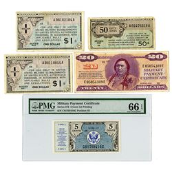 Military Payment Certificate, 1946-1970, Lot of 5 Notes