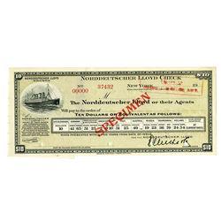 Norddeutscher Lloyd Check, ND ca. 1900, Specimen Traveler's Check.