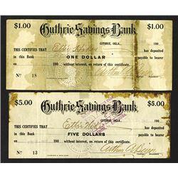 Guthrie Saving Bank, Oklahoma. 1907 Panic Scrip.