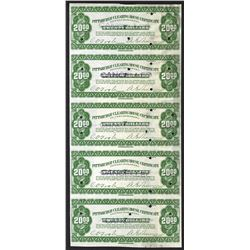 Pittsburgh Clearing House Certificate. 1907. Uncut sheet of 5.