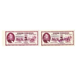 USDA Food Coupons. Pair of $5 Issues.