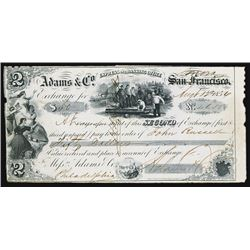 Adams & Co. Express and Banking Office, 1854, Sonora Location Instead of San Francisco, CA. Gold Rus
