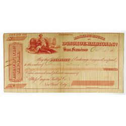 Banking House of Donohoe, Ralston & Co., 1862 Issued Bill of Exchange Rarity