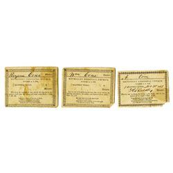 Methodist Episcopal Church, ca. 1830s-1850s, Trio of Tickets