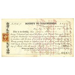 Bounty to Volunteers, April 24th, 1865 Issued and Endorsed.