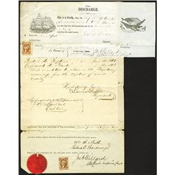"Civil War 1863-64 Naval Discharge Papers and Notarized Claimant Forms for ""Prize Money"" due for Spoi"