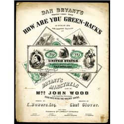 "Dan Bryant's 1863 Song ""How Are You Greenbacks"" Sheet Music."